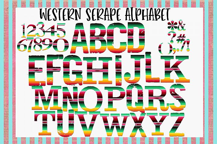 Western Serape Alphabet Sublimation Digital Download