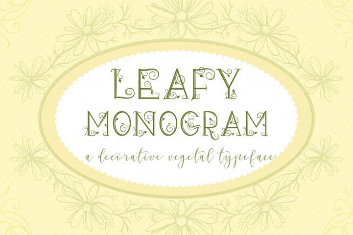 Leafy Monogram Font & Alphabet