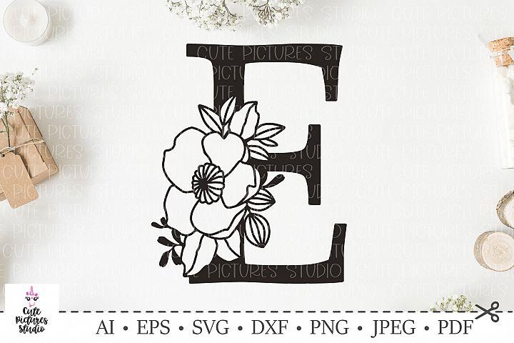 Botanical alphabet svg. Floral letter E svg. Bundle SVG, DXF