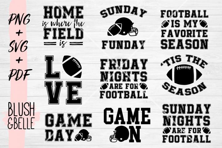 Football Bundle, 9 Designs for 9 Dollars - PNG, SVG, PDF