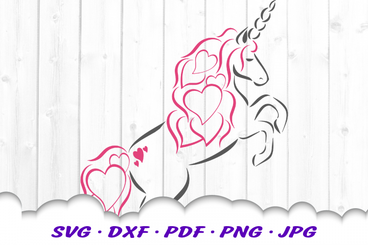 Valentines Unicorn Hearts SVG DXF Cut Files