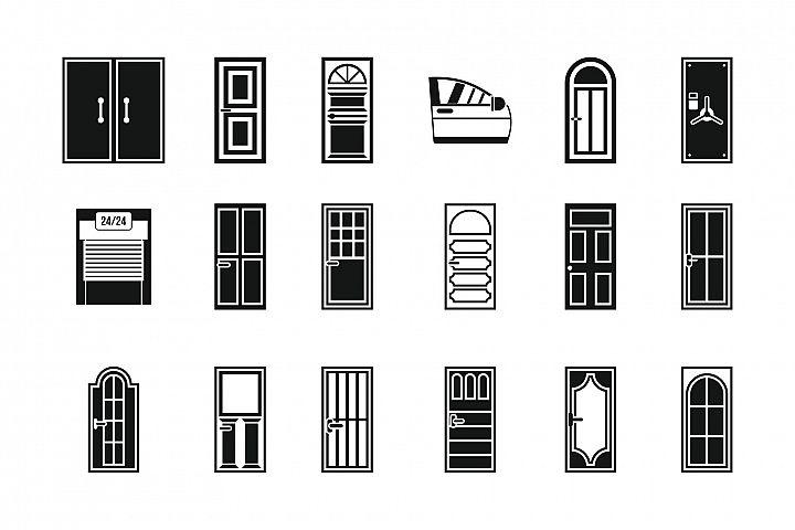 Door icon set, simple style