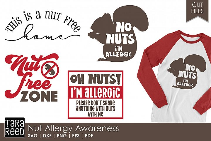 Nut Allergy Awareness - SVG and Cut Files for Crafters