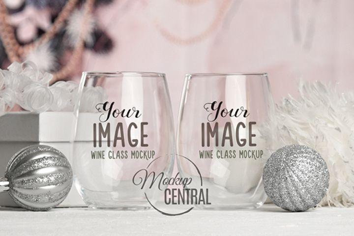 Christmas Stemless Wine Glass Mock Up Glasses, JPG Mockup