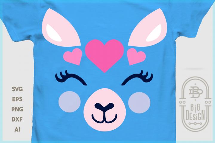 Cute Llama face with hearts SVG, Valentines Day Llama SVG