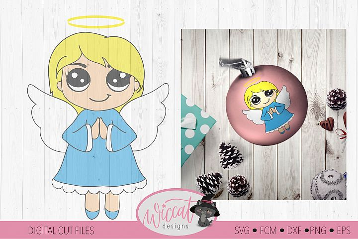 Praying Christmas angel, Kawaii angel, Cute angel girl,