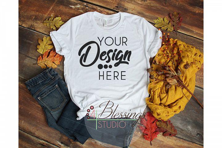 Fall Flat Lay T-shirt Mockup Bella Canvas 3001 White Ladies