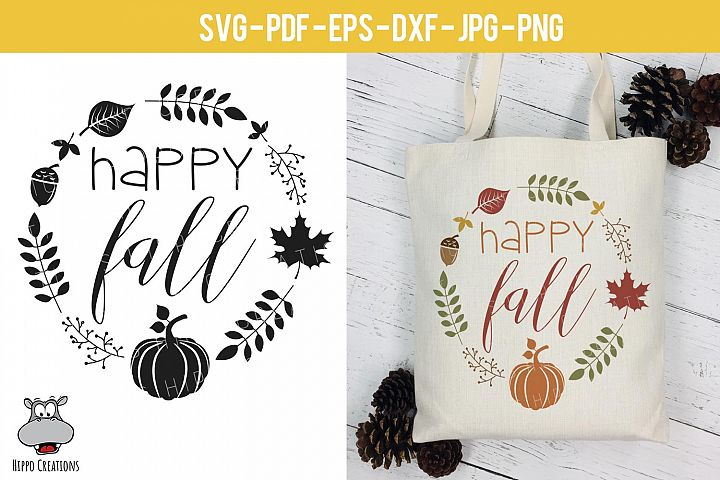 Happy Fall, Thanksgiving SVG, Fall, Autumn SVG, Pumpkin