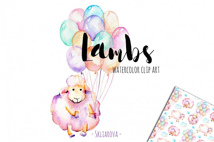 Lambs. Watercolor clipart