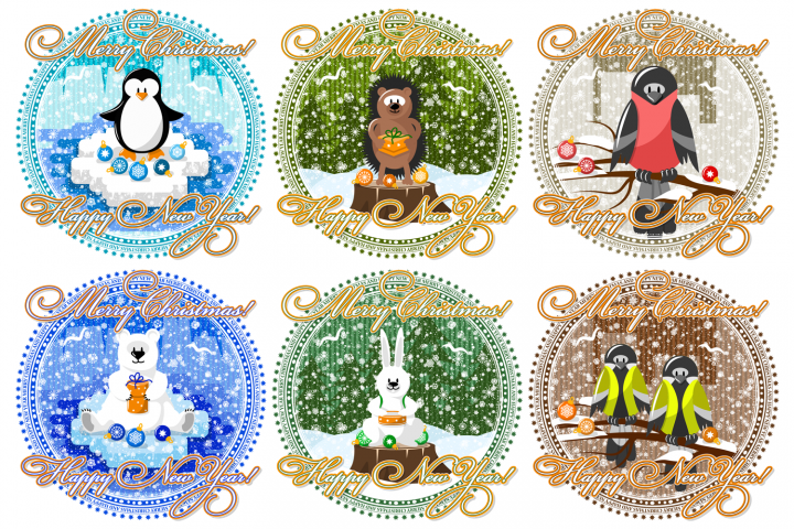 Greeting card for christmas and new year. Animals and snow.