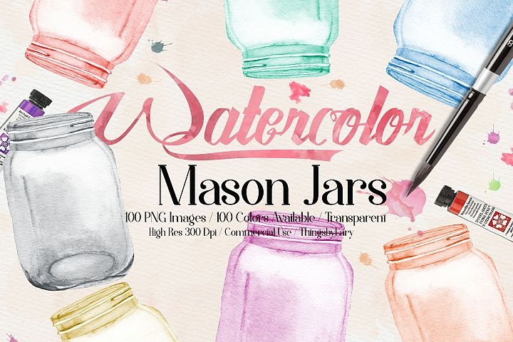 100 Watercolor Mason Jar Clip Arts