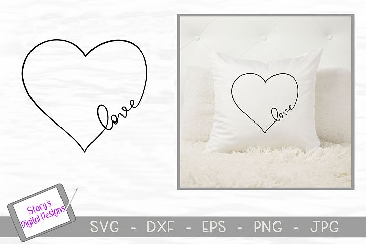 Love SVG in a heart - Valentine SVG, handlettered example 1