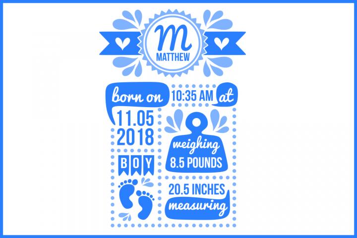 Birth stats svg, birth stats template, baby stats svg file