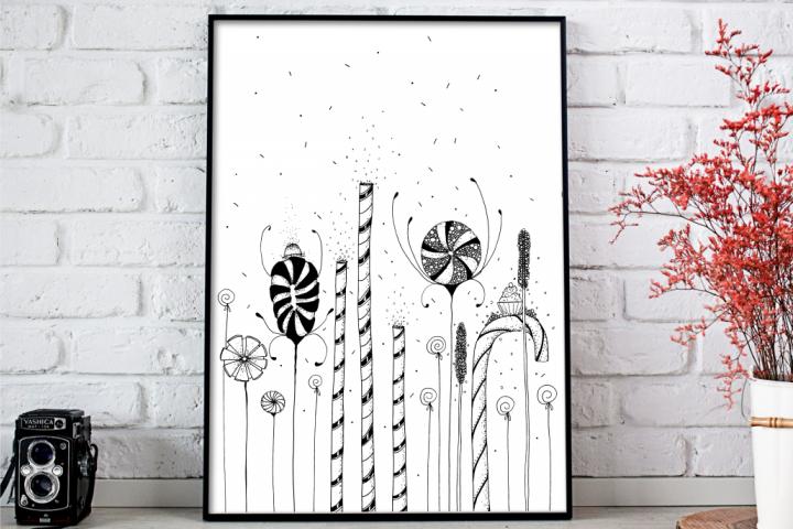Garden of Candy Flowers Art Illustration, A1, SVG