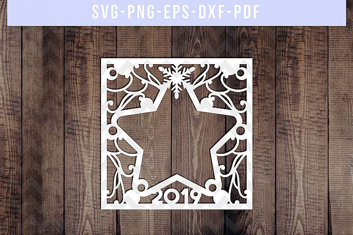 Photo Frame Winter 2019 Paper Cut Template, Christmas SVG