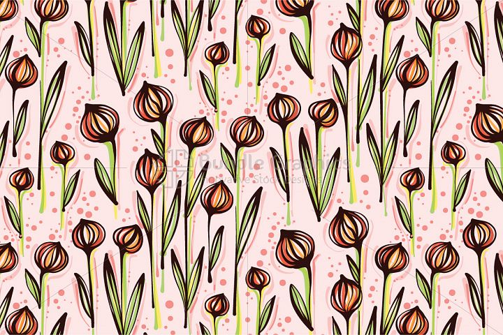 Ball Flower Plants - Creative Seamless Floral Background