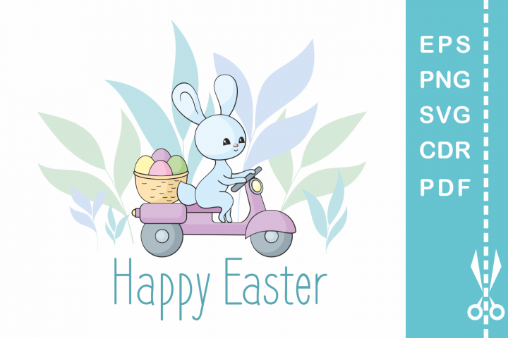 Easter design with bunny on a moped