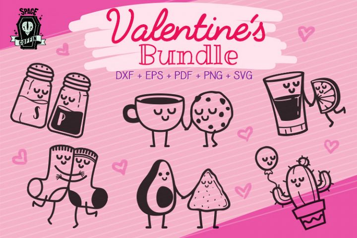 6 Valentines day cute couples cartoon bundle svg dxf eps pdf