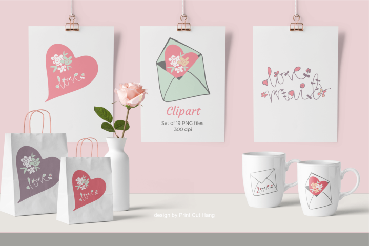 Valentine Love Mail and Hearts Clip Art Set of 19 PNG files