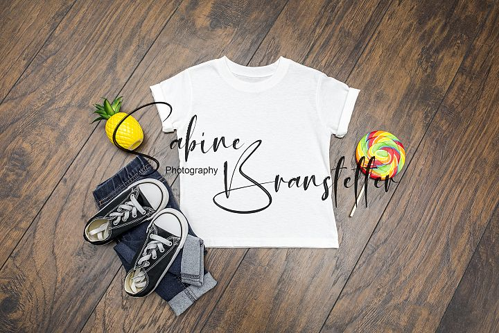 Styled Stock Photo Boy Kids White Summer T-shirt Mockup
