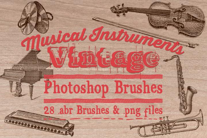 Vintage Musical Instrument Illustrations & Photoshop Brushes