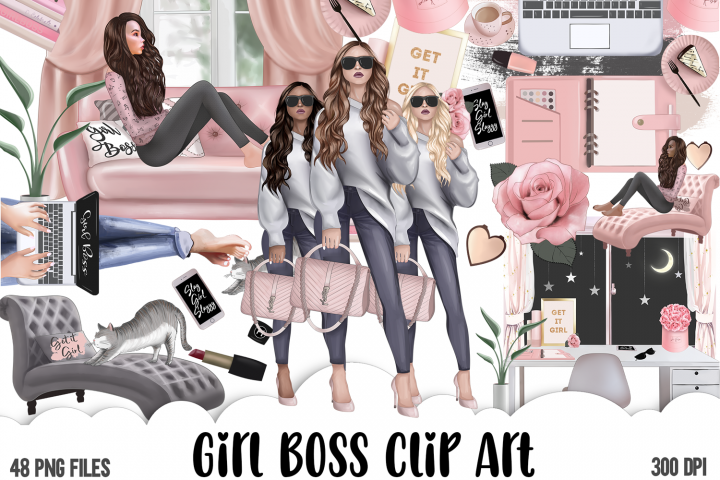 Girl Boss Clipart - Planner Fashion Clipart - Business Woman