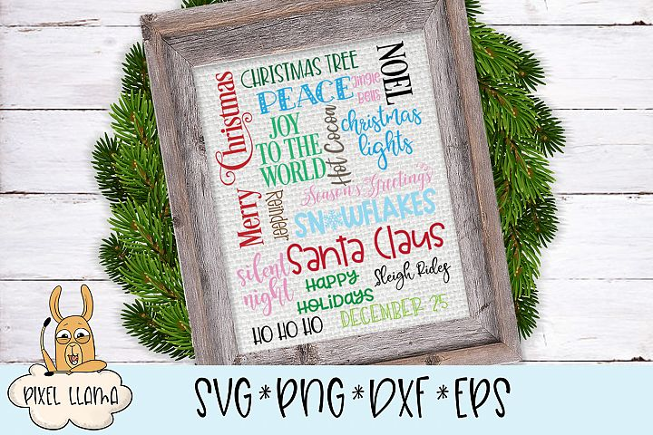 Christmas Subway Word Art SVG Cut File