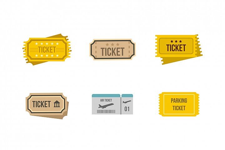 Ticket icon set, flat style