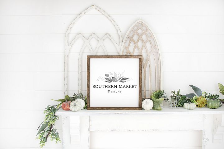 Fall Wood Framed Sign 12x12 Mock Up Photo Stock Photography
