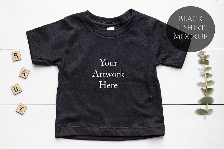 Onesie, Infant T-Shirt in Black Mockup