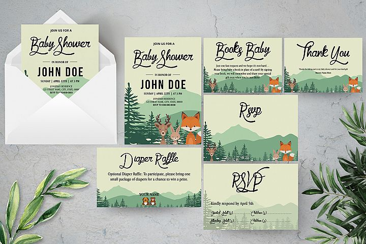 Woodland Baby Shower Invitation Template Suite