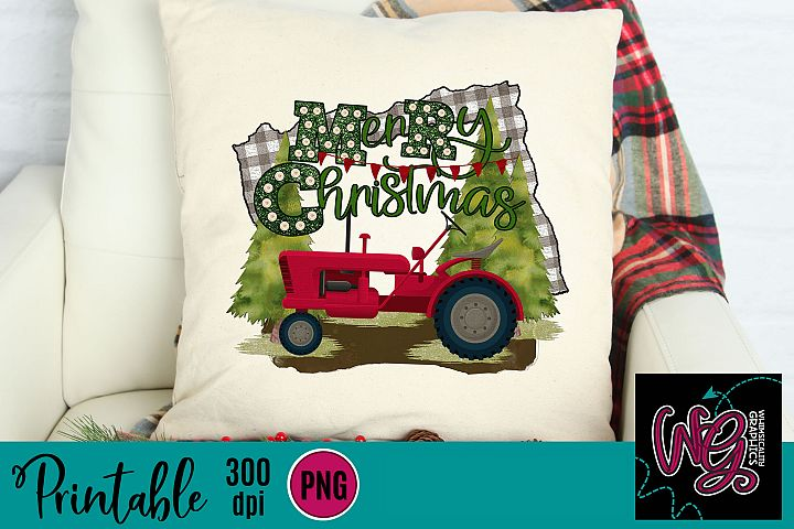 Merry Christmas Tractor Sublimation Printable