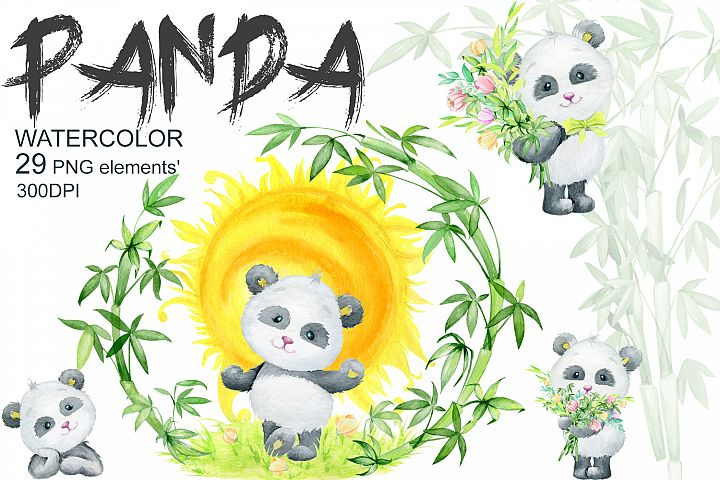 Panda. Little animals watercolor clipart, watercolor.