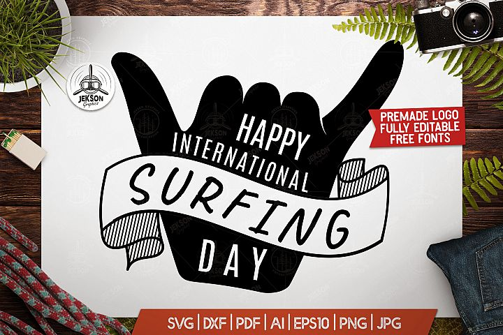 Surf Day Adventure Badge, Vintage Summer Logo SVG File