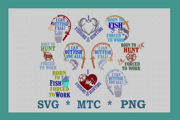 Fishing Bundle #02 PNG DESIGN SVG 10 Cut Files