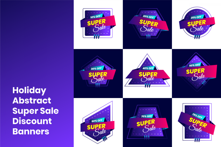 Holiday Abstract Super Sale Discount Banners