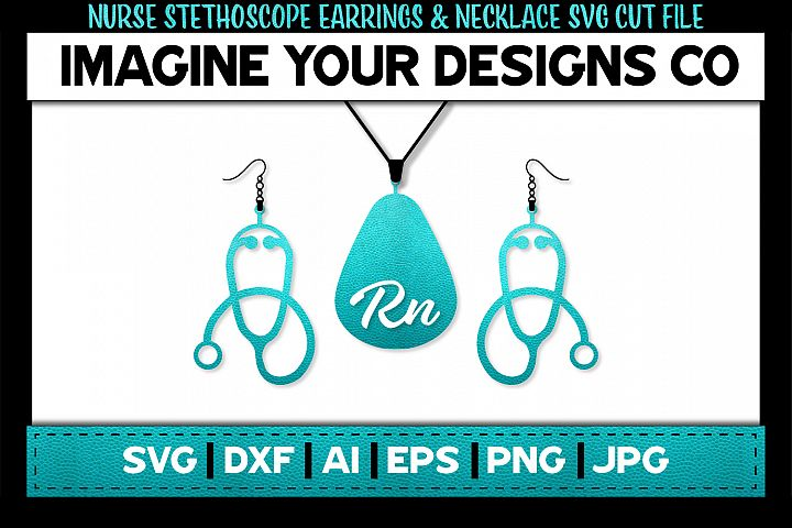 Nurse Stethoscope SVG Earrings and Necklace Template
