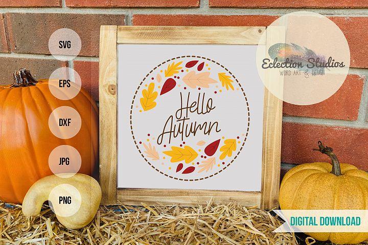 Hello Autumn SVG, Fall leaves Shirt, sign, or mug SVG