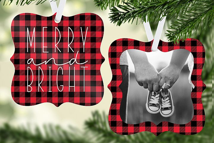 Merry & Bright Plaid Christmas Ornament Template
