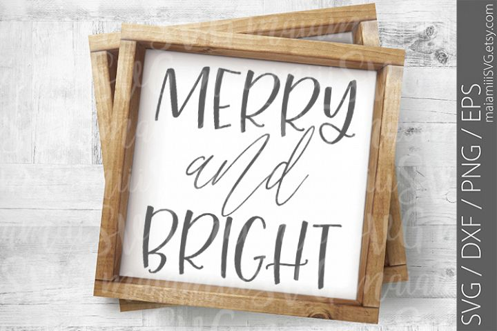 Merry and bright svg, Holiday svg, Christmas svg, Wood Sign