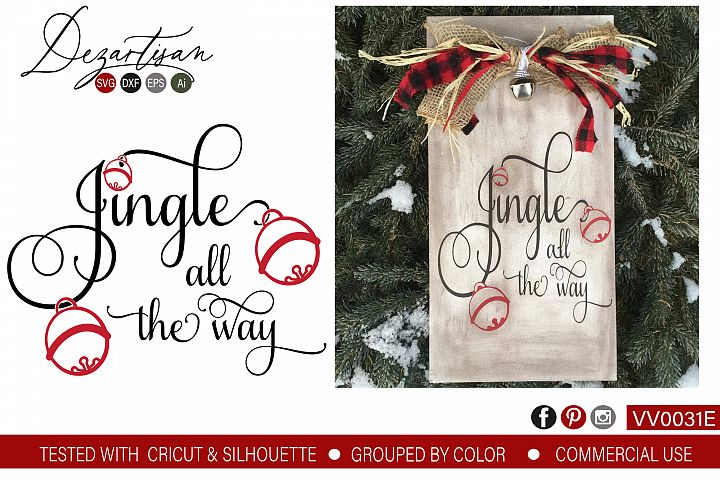 Jingle all the way Christmas SVG DXF cut file