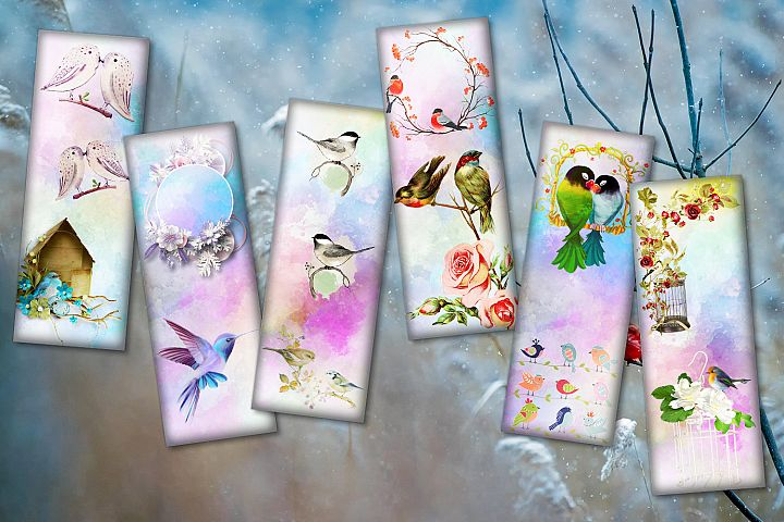 Birds & Flowers Bookmarks,Digital Collage Sheet,BLACK FRIDAY