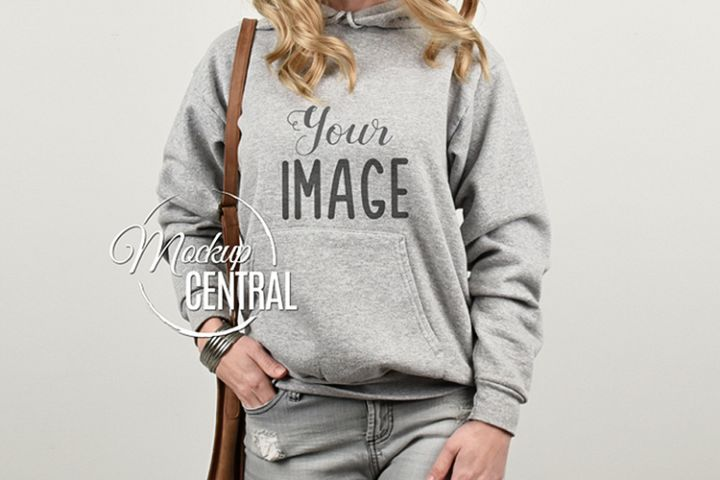 Girl in Gray Hoodie Sweatshirt Mockup, Grey Mock Up Hoodie