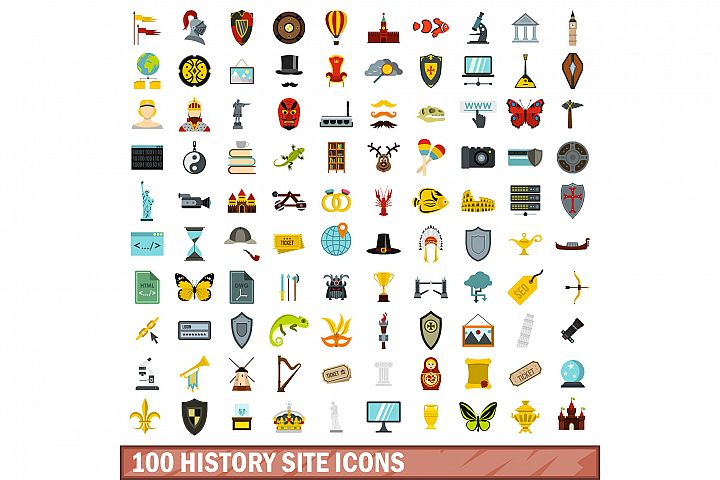 100 history site icons set, flat style
