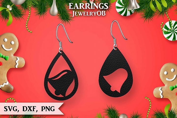 Christmas Earrings, Cut File, SVG DXF PNG, Ring Bell