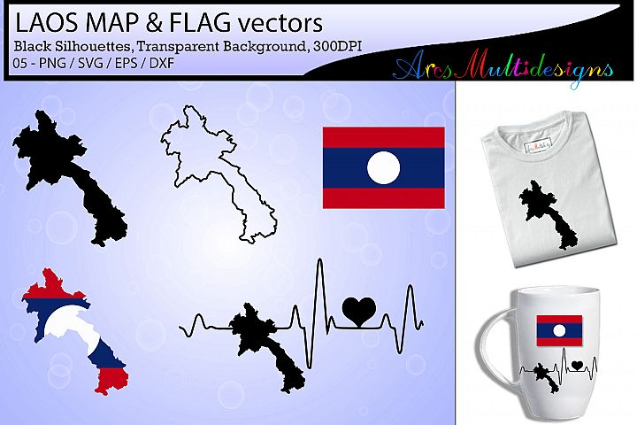 Laos map SVG / Laos Flag SVG / Laos map silhouette vector