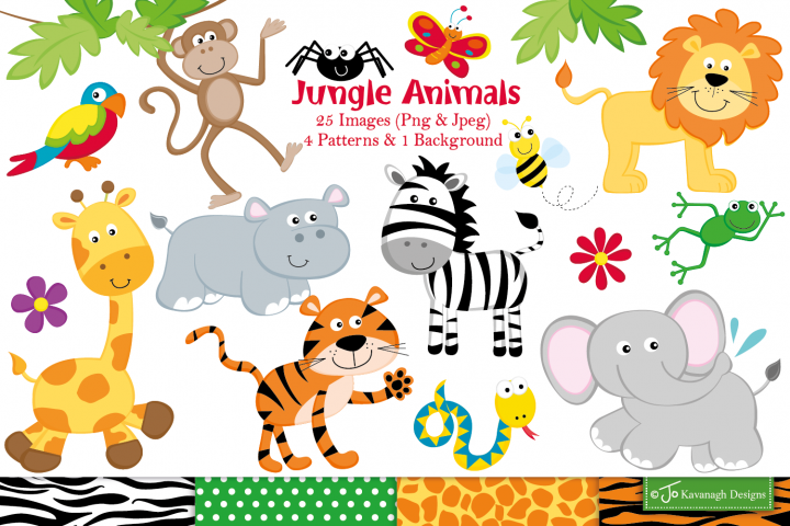 Jungle clipart, Jungle animals graphics & illustrations -C15