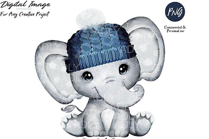 Winter elephant clip art, very cute little peanut, dark blue