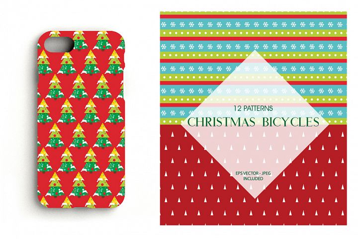 Christmas bicycles Pattern collection, vector ai, example image 4