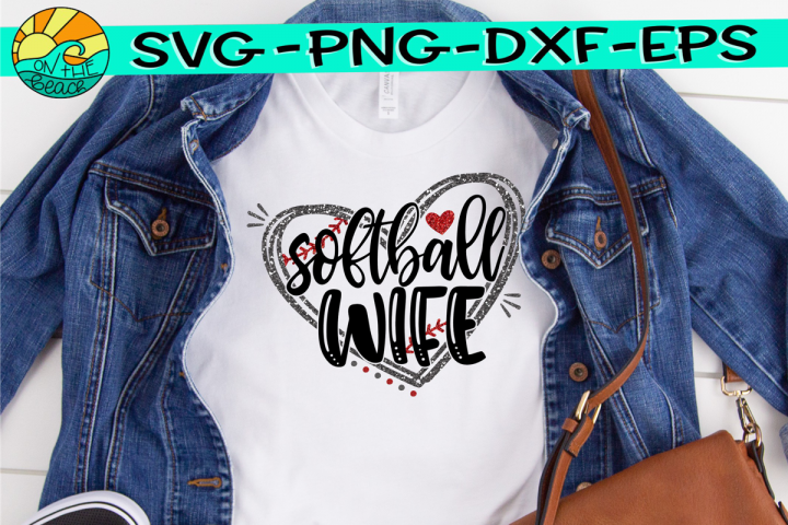 Softball Wife - Heart - SVG - DXF - EPS - PNG